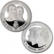 España Spain monedas Euros conmemorativos de 2004 Boda de Su Alteza Real el Principe 10 Euros Plata