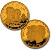 España Spain monedas Euros conmemorativos de 2004 Boda de Su Alteza Real el Principe 200 Euros Oro