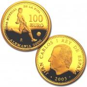 España Spain monedas Euros conmemorativos 2004 Copa Mundial de la FIFA Alemania 2006 2ª 100 Euros Oro 1ª Tirada