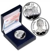 España Spain monedas Euros conmemorativos 2004 Dalí 10 euros El gran masturbador Plata