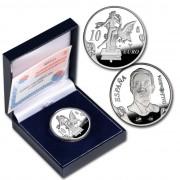 España Spain monedas Euros conmemorativos 2004 Dalí 10 euros Leda atómica Plata