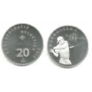Monedas 20 Francos Suizos 2015 Hornussen  Plata