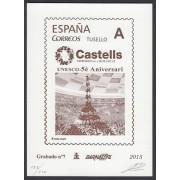 España Spain Grabado 7 Barnafil 2015 Aniversario UNESCO Castells, Patrimonio