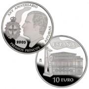 España Spain monedas Euros conmemorativos 2005 XXV Aniversario Premios Princ.Asturias 10 euros Plata