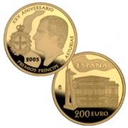España Spain monedas Euros conmemorativos 2005 XXV Aniversario Princ.Asturias 200 euros Oro