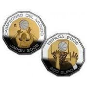 España Spain monedas Euros conmemorativos 2006 CAMPEONES DEL MUNDO BALONCESTO 300 euros Bimetálica Oro-Plata