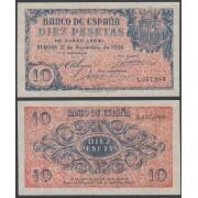 Billete España 10 Ptas   1936  Burgos Magnífico Sin Circular