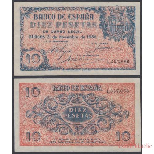 Billete España 10 Ptas Burgos  1936 Magnífico Sin Circular