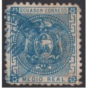 Ecuador 5a variedad sin punto  1872 Escudo de Armas Usado