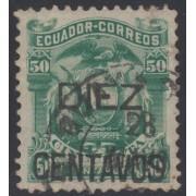 Ecuador 14 1883 Escudo de Armas Sobrecargado Usado