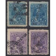 Ecuador 28a + 28b + 29a + 29b 1892 Variedades sobrecarga Juan Flores MH