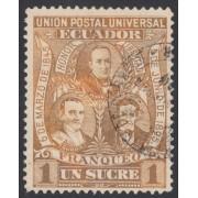 Ecuador 75a Variedad color marrón Variety 1896 UPU Elizalde Noboa Olmedo Usado