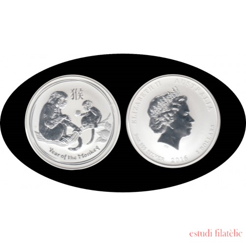 Australia 2016 2 onza plata Year of the Monkey Año del Mono 2 $ 999 Ag