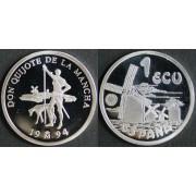 España Spain Moneda Cervantes 1994 1 ecu plata
