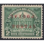 Ecuador 283a Variedad Variety Doble sobrecarga 1920 1924 Casa de Correos MH