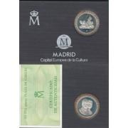 España Spain  1992 Cartera Oficial  FNMT  200 ptas plata Juan Carlos I Cibeles Madrid FNMT