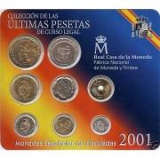 España Spain Cartera Oficial Pesetas 2001 Juan Carlos I FNMT - últimas pesetas -