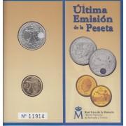 España  Spain Cartera Oficial  2001  2000 ptas plata +100 ptas Juan Carlos I FNMT  Últimas pesetas