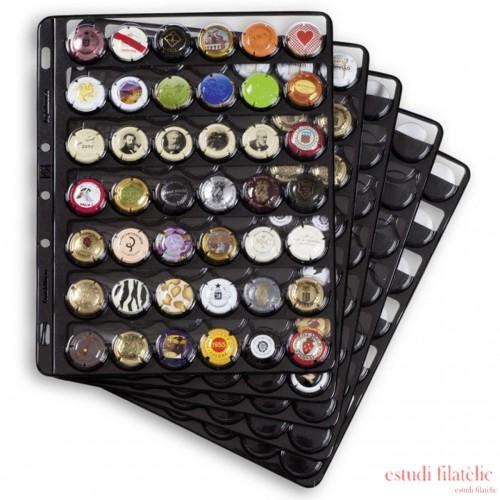 Hojas de plástico COMPART, para 35 placas de cava / tapas coronas, negro