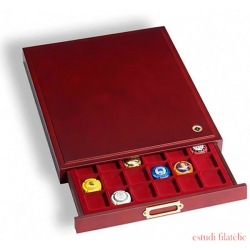 Elegante Bandeja para monedas LIGNUM, 48 divisiones esquinadas de 30 mm Ø