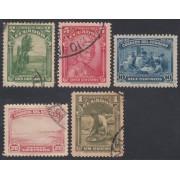 Ecuador 353/57 1937 Atahualpa Oro sombreros Usados