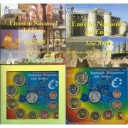 España Spain 2008 2 Carteras Oficicales Euros € Serie Autonomías Andalucía y Aragon + 2 medallas plata escudo