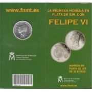 España Spain 2014 Cartera Oficial Moneda 30 euros € plata  Felipe VI FNMT