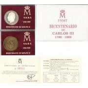 España Spain Cartera Oficial 1988 Estuche Bicentenario Carlos III FNMT
