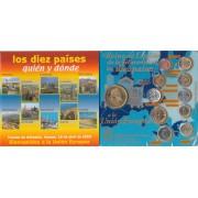 España 2003 Atenas Tratado de la Unión Cartera  Colección Monedas 10 nuevos miembros