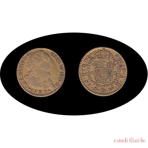 España Spain Carlos III 1 Escudo 1787 Madrid DV Oro Gold Au