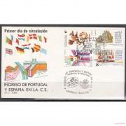 España Spain Emisión conjunta 1986 SPD España - Portugal Europa Sobre Primer Día