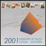 LIBRO ALBUM OFICIAL DE SELLOS ESPAÑA Y ANDORRA AÑO COMPLETO 2001