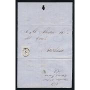 España Carta Nº 106b Barcelona 1870 VARIEDAD RARA