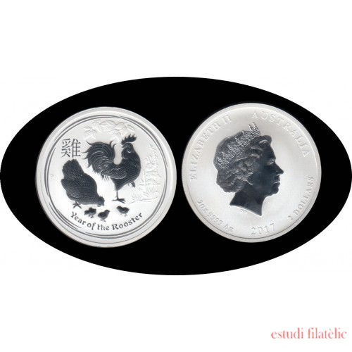 Australia 2017 2 OZ onza de plata 1 $ Year of the Rooster Gallo 999 Ag