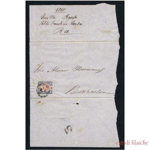 España Carta Nº 95 Sevilla a Barcelona 1868