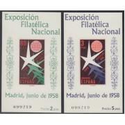 España Spain 1222/23 1958 Exposición Flilatélica Nacional Bruselas Mismo número MNH