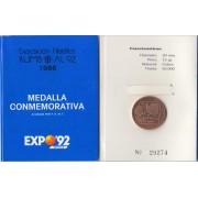 España Spain 1988 Medalla conmemorativa Expo 92 Sevilla Cobre