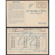 España 1933 Tarjeta Servei Meteoròlogic de Catalunya de Ordino a Andorra
