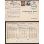 España 1933 Tarjeta Servei Meteoròlogic de Catalunya Franquícia Postal