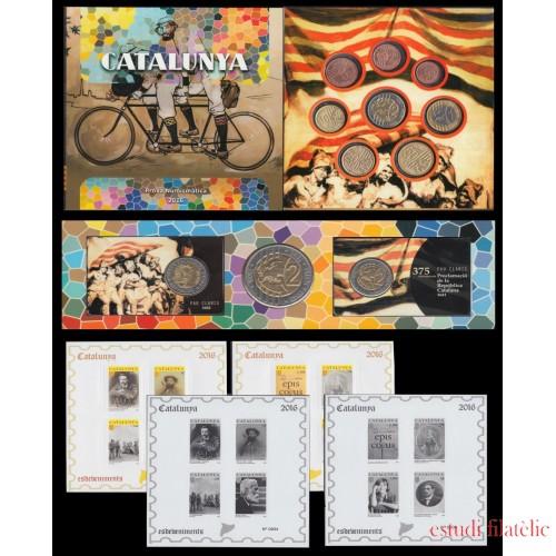 Catalunya Conjunto Pruebas Filatélicas Numismáticas Cartera Euros Completo 2016