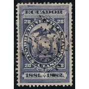 Ecuador Fiscal 9 1881 1882 20 centavos Usado