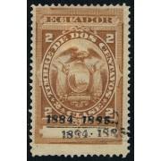Ecuador Fiscal 11a 1884 Variedad Variety Doble sobrecarga MH