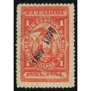 Ecuador Fiscal 89Ba 1897 Variedad Variety Doble sobrecarga