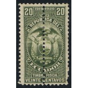 Ecuador Fiscal 207a 1919 1920 Variedad variety Dentado central
