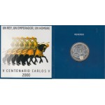 España Spain Cartera Oficial 2000 Moneda 2000 ptas Plata V Cent Carlos V FNMT
