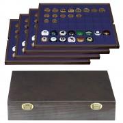 Lindner 2494-6M Estuche de madera autentica CARUS con 4 bandejas para 192 chapas placas de cava Ø 30 mm