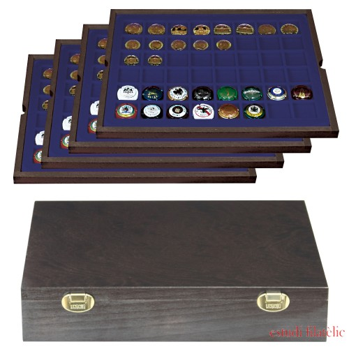 Lindner 2494-6 Authentic wood case CARUS with 4 trays for 192 coin capsules up to Ø 30 mm