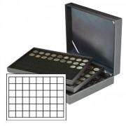 Lindner 2365-2148CE Estuche NERA XL con 3 bandejas inserciones de monedas negras