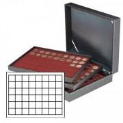 Lindner 2365-2748E Estuche NERA XL con 3 bandejas e inserciones de monedas rojo oscuro