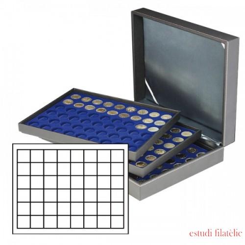 Lidner 2365-2148ME Estuche NERA XL con 3 bandejas e inserciones de monedas azul oscuro